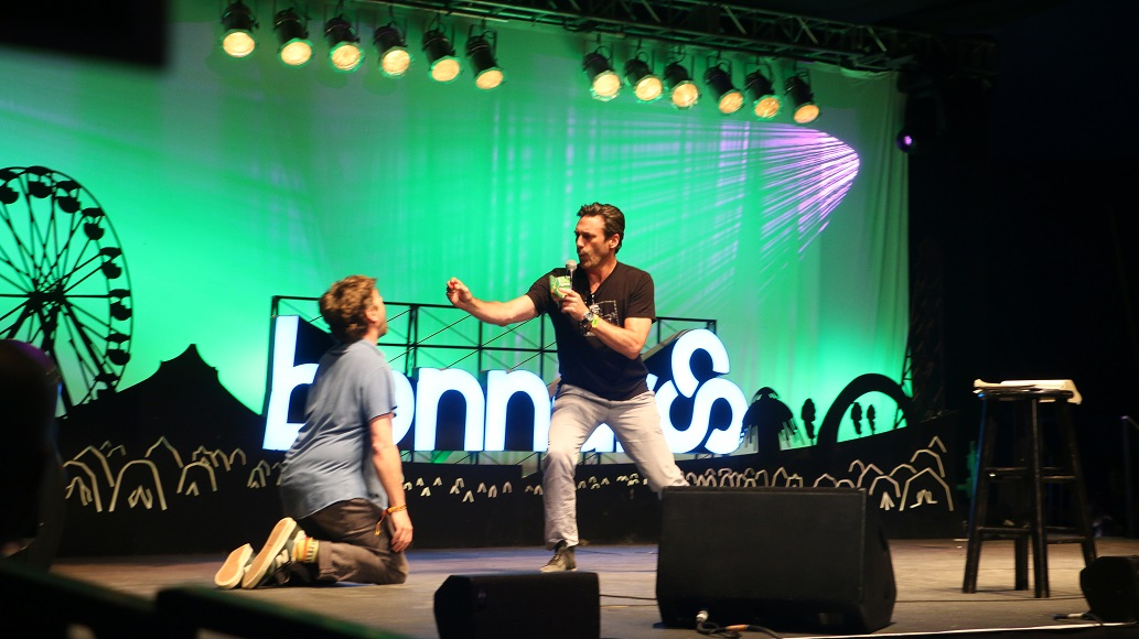 Zach Galifianakis, left, and Jon Hamm, right, perform at the Bonnaroo Music and Arts Festival in Manchester, Tenn. on Saturday, June 13, 2015. (MTSU Sidelines / John Connor Coulston)