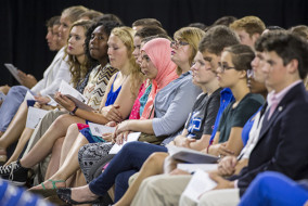 Freshman Buchanan Fellows and Transfer Fellows listen to speaker Jay Allison during MTSU's 2015 Convocation Sunday, Aug. 23, 2015, at Murphy Center. (MTSU photo by Andy Heidt)