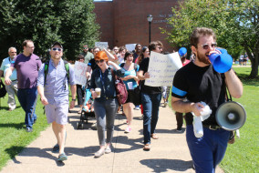 MTSU faculty, students and alumni gather to march to change the name of Forrest Hall on Aug. 27, 2015. (MTSU Sidelines/Sarah Grace Taylor)