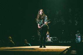 "Danielle Haim of Haim at Bridgestone Arena in Nashville, Tenn. on Friday, Sept. 25, 2015. The band's performance was part of Taylor Swift's ""The 1989 Word Tour."" (MTSU Sidelines / Andre Rowlett)"