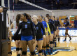 MTSU's women's volleyball team meets the opposing team at the start of the game, October 4th 2015. MTSU's women's volleyball team faced Western Kentucky University Sunday.
