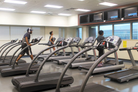 Students work up a sweat in the upstairs cardio room of the Recreation Center (MTSU Sidelines/ Emily Austin)