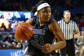 Middle Tennessee junior guard Olivia Jones drives to the basket against the No. 8 Kentucky Wildcats on Dec. 13, 2015 at Murphy Center. The Blue Raiders turned the ball over 26 times en route to a 68-52 loss. (Submitted/Go Blue Raiders)