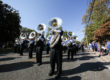 The tuba section of the Band of Blue marches during the MTSU Homecoming Parade on Saturday, October 16, 2016 on Main Street in Murfreesboro, Tenn.