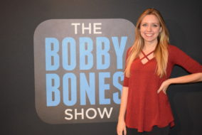 Morgan Massengill working on The Bobby Bones Show in Nashville, Tenn.