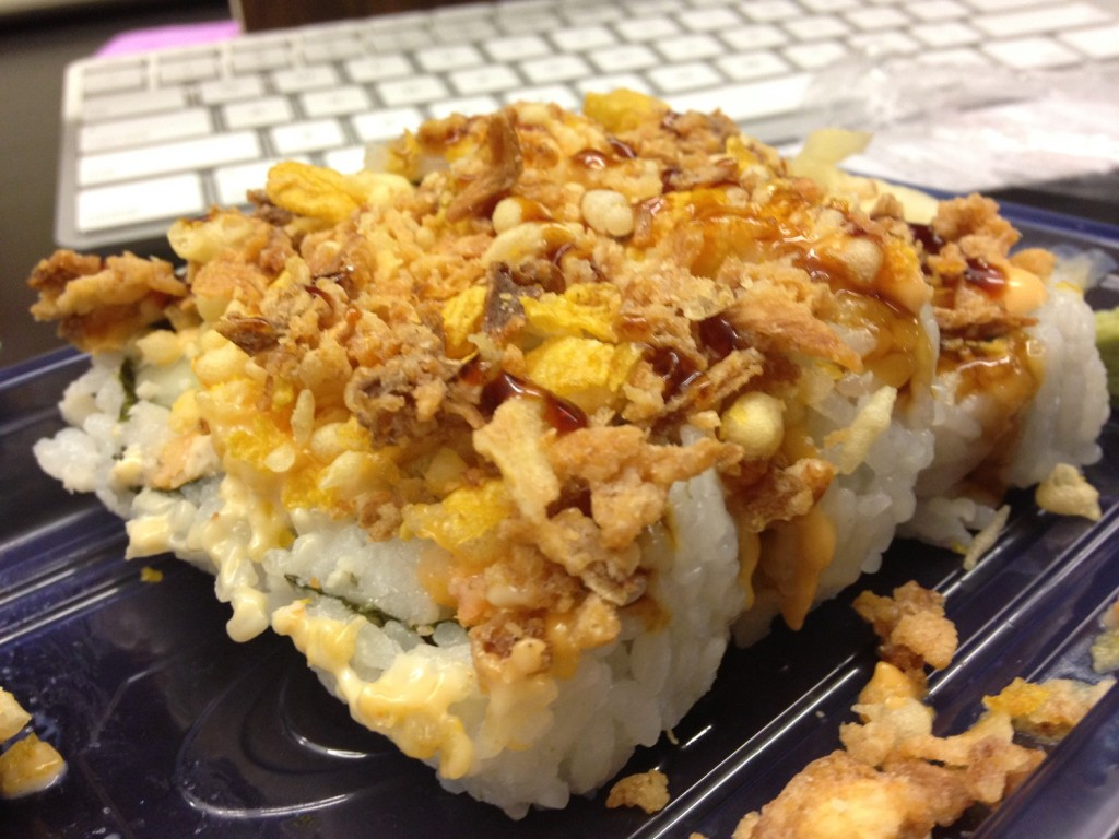 A takeout sushi roll from Kroger in Murfreesboro, Tenn. MTSU Sidelines / John Connor Coulston)